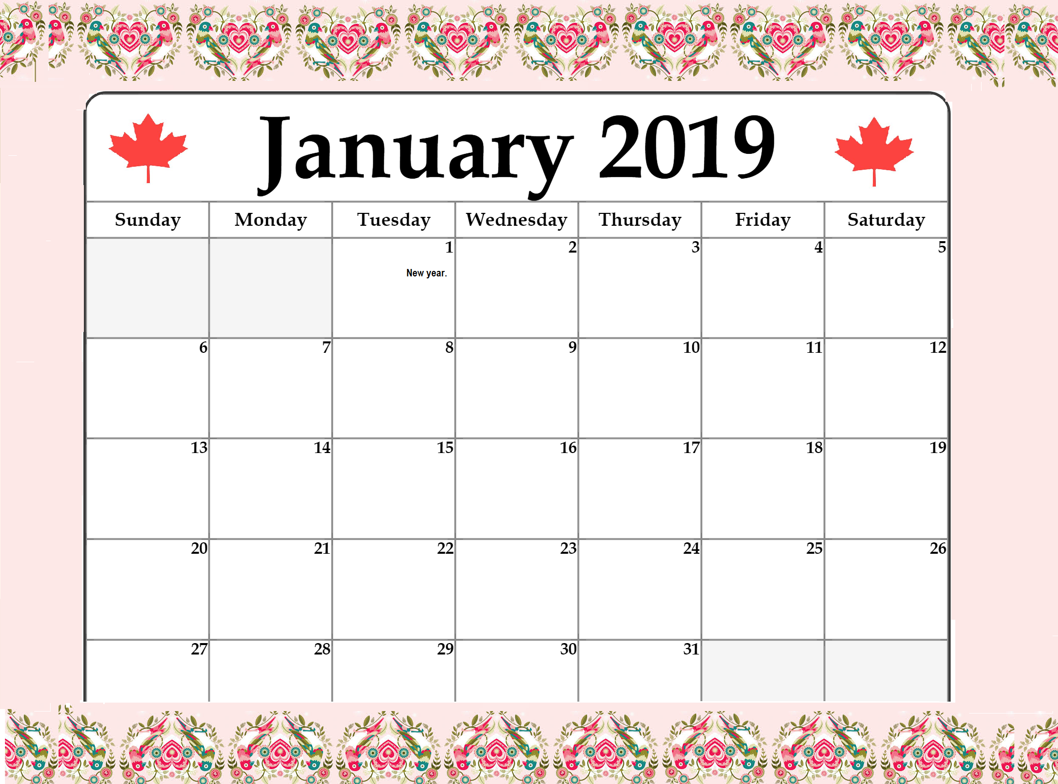 January 2019 Calendar Canada With Holidays