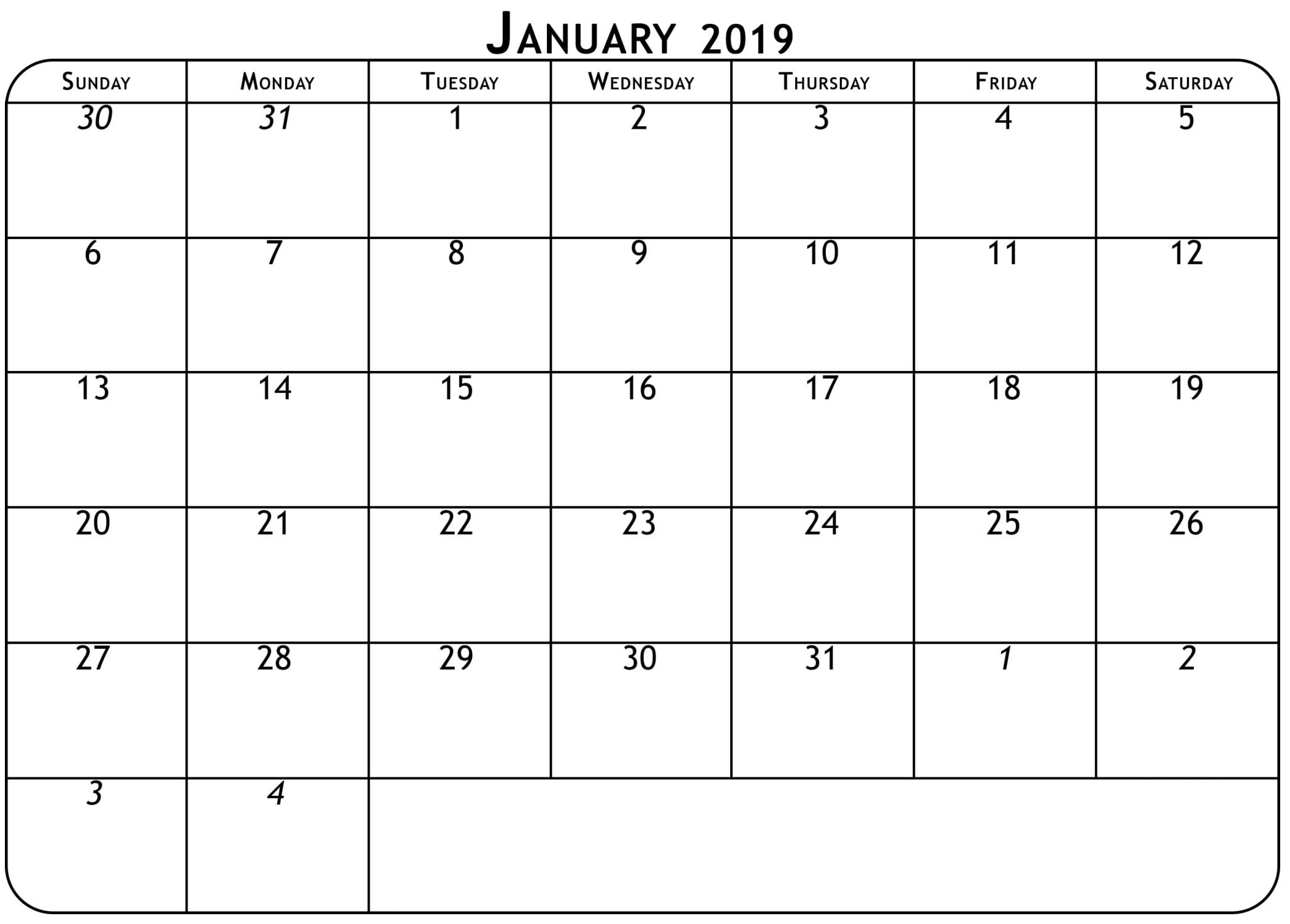 January 2019 Calendar Coloring Page
