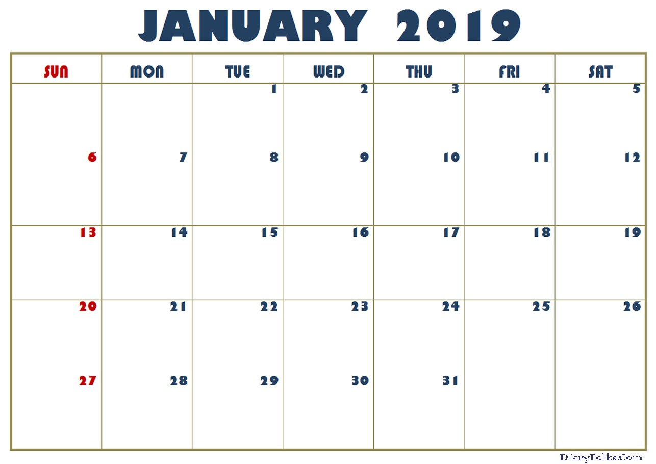 January 2019 Calendar Excel Printable
