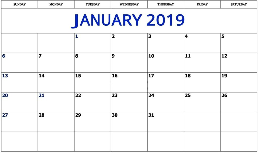 January 2019 Calendar Excel Template