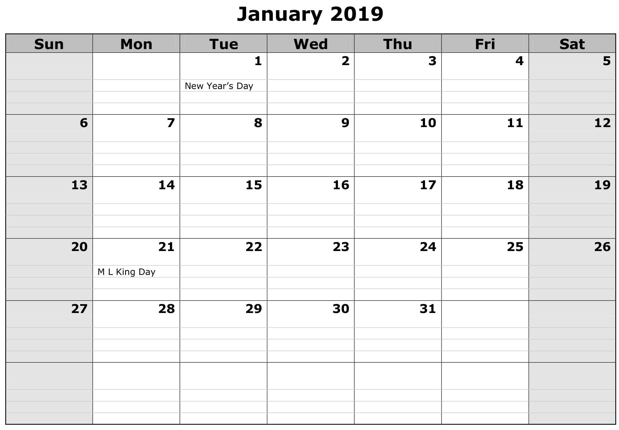 January 2019 Calendar Excel Worksheet