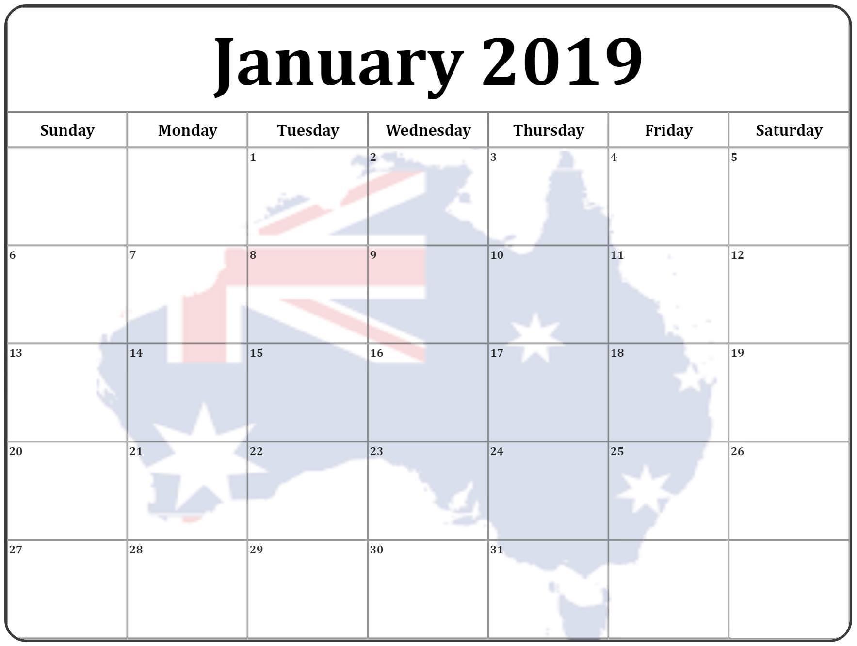 January 2019 Calendar For Australia