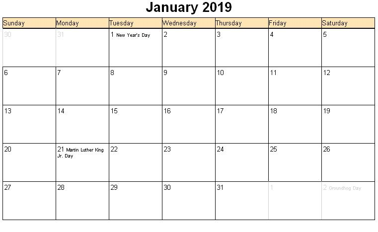 January 2019 Calendar Landscape With Holidays