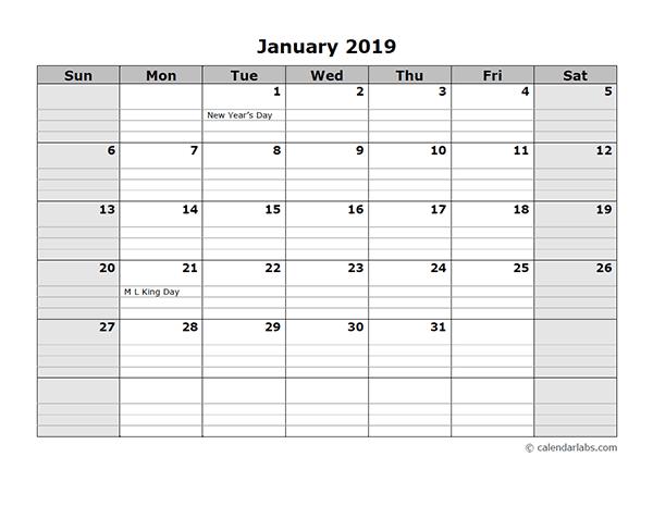 January 2019 Calendar Landscape With Planner