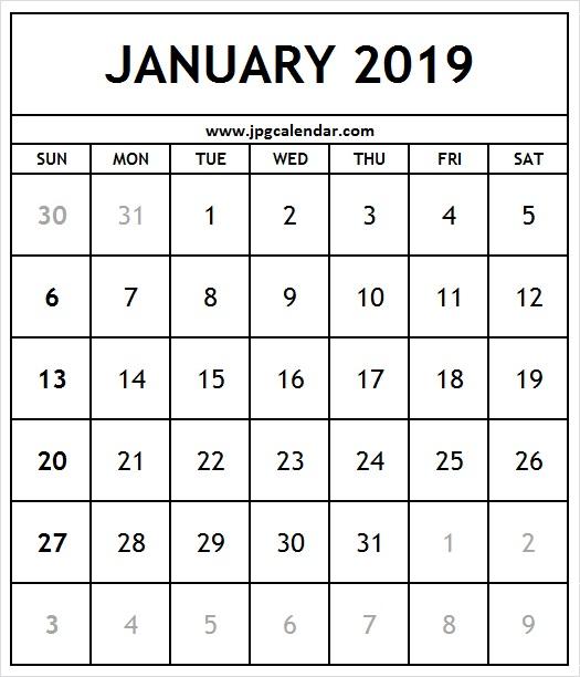 Blank January 2019 Calendar A4 Size