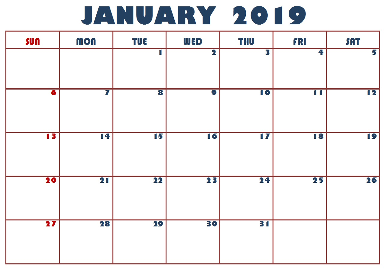 January 2019 Calendar Printable Template With Holidays