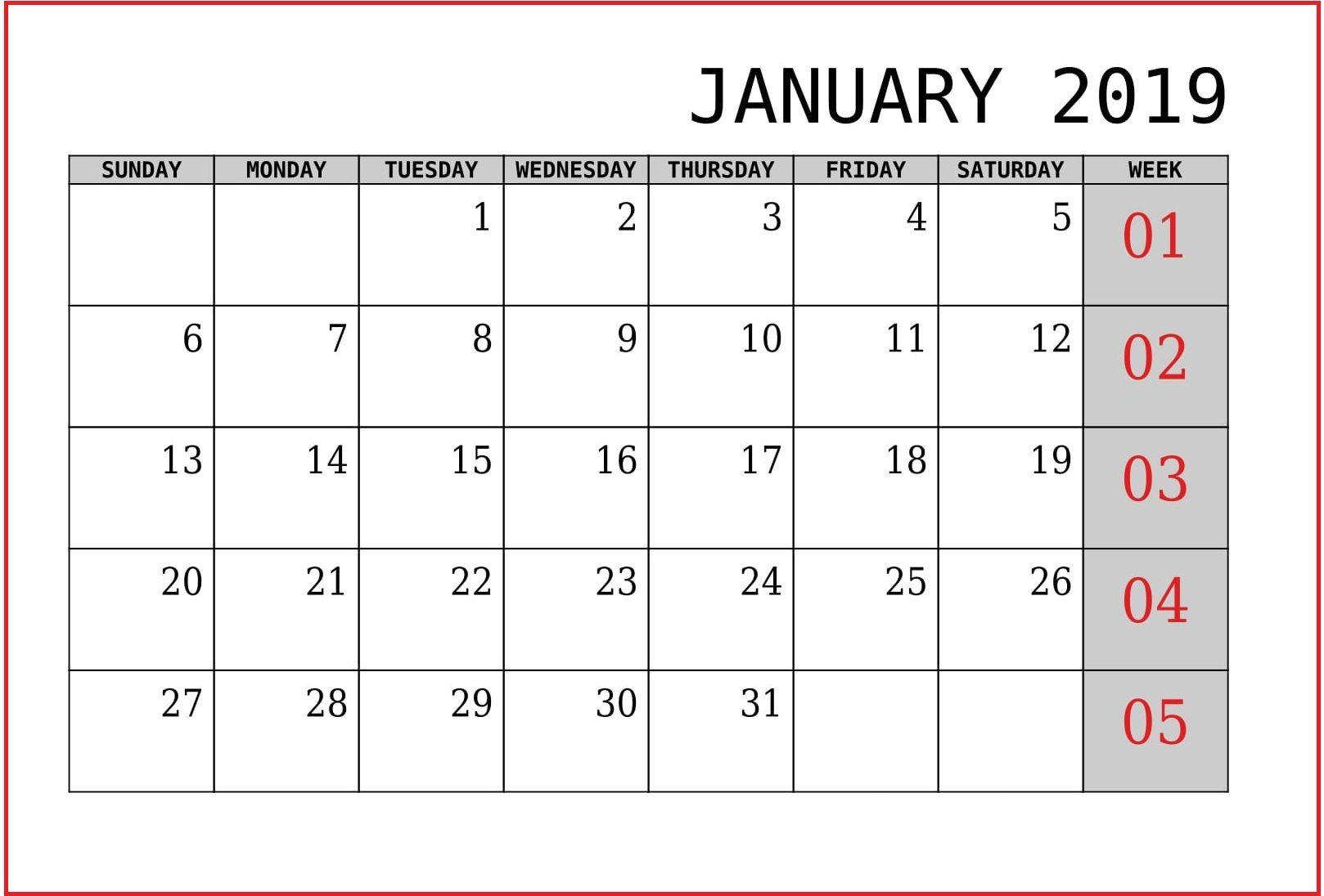 January 2019 Calendar Printable Landscape