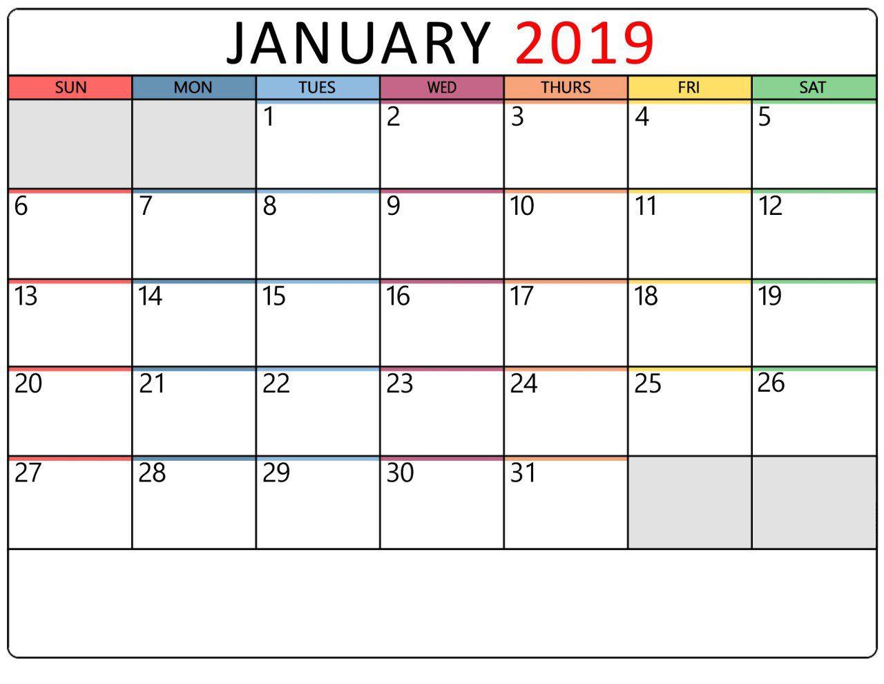 January 2019 Calendar Printable Portrait