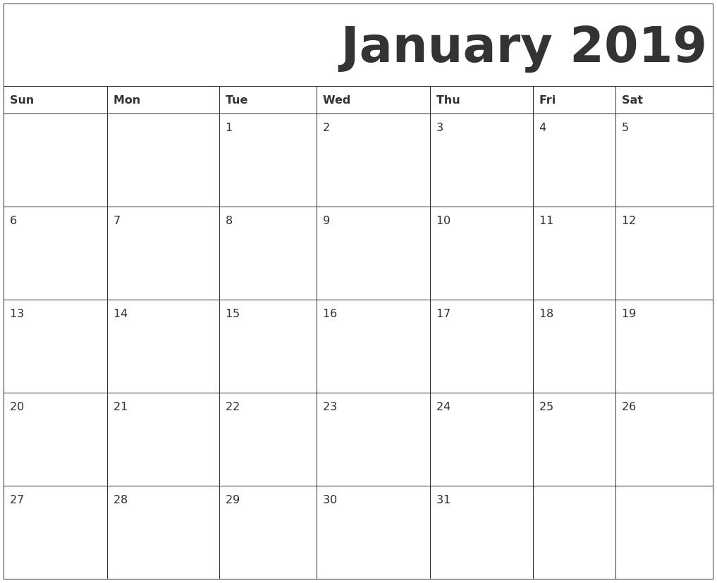 January 2019 Calendar Printable Template