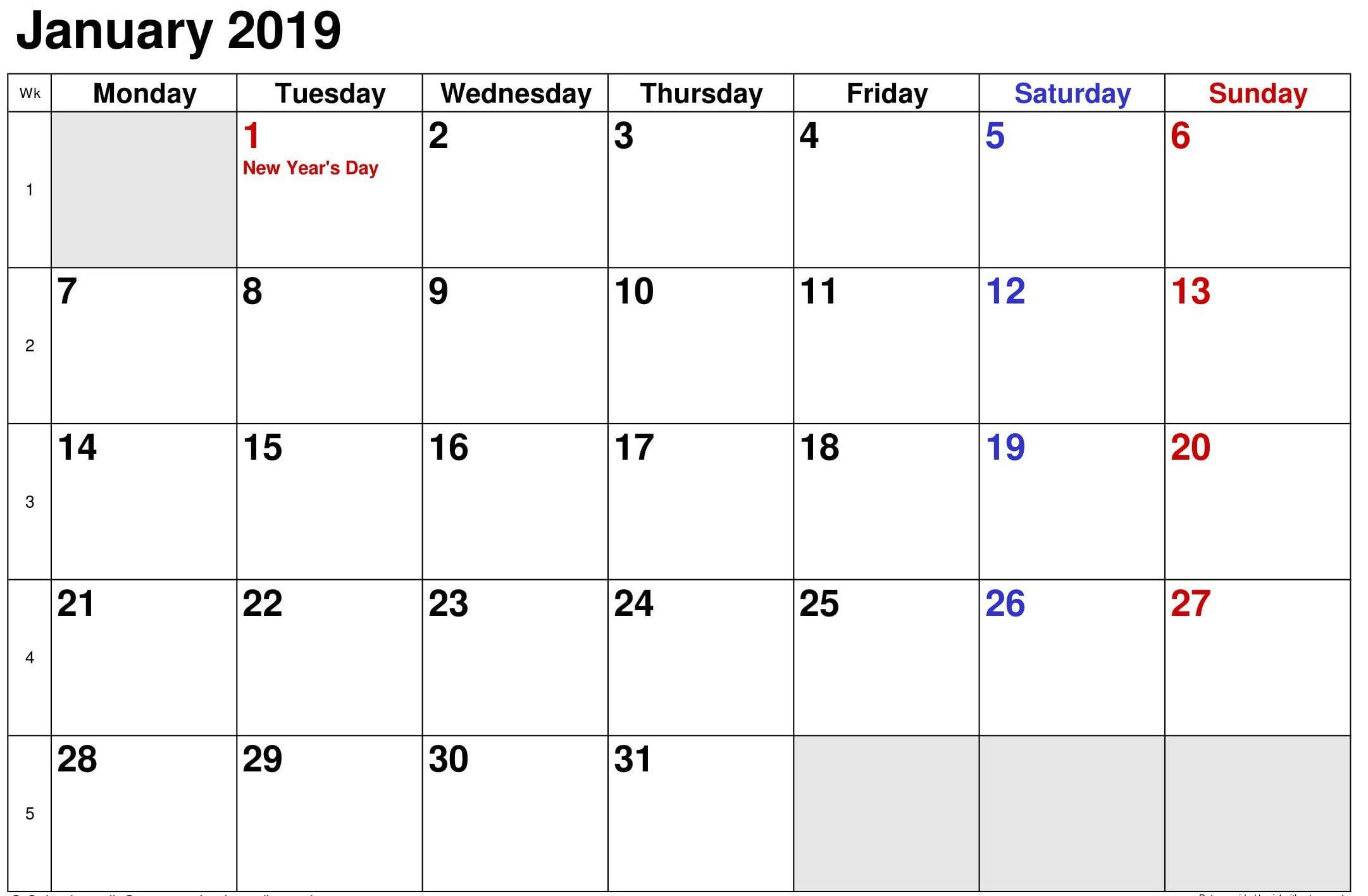 January 2019 Calendar Printable With Holiays