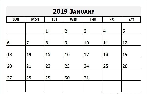 January 2019 Calendar SA