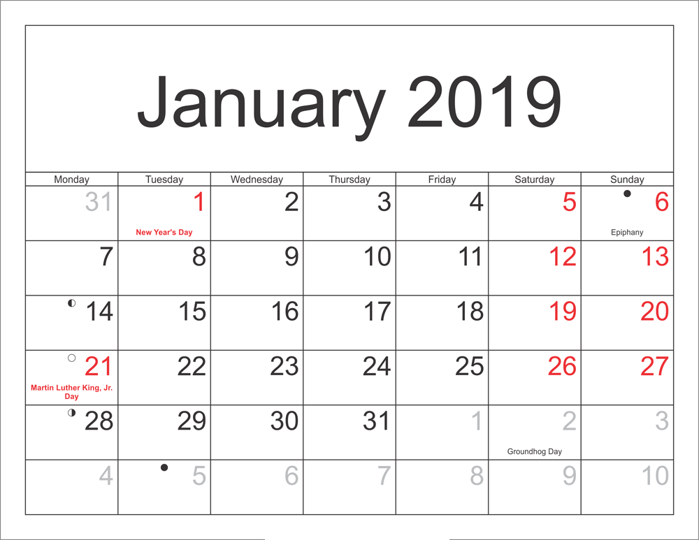 January 2019 Calendar Singapore With Holidays