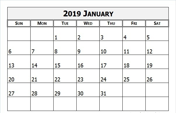 January 2019 Singapore Calendar Word