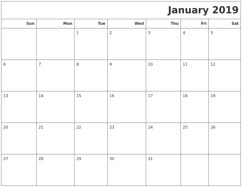 January 2019 Calendar South Africa Template
