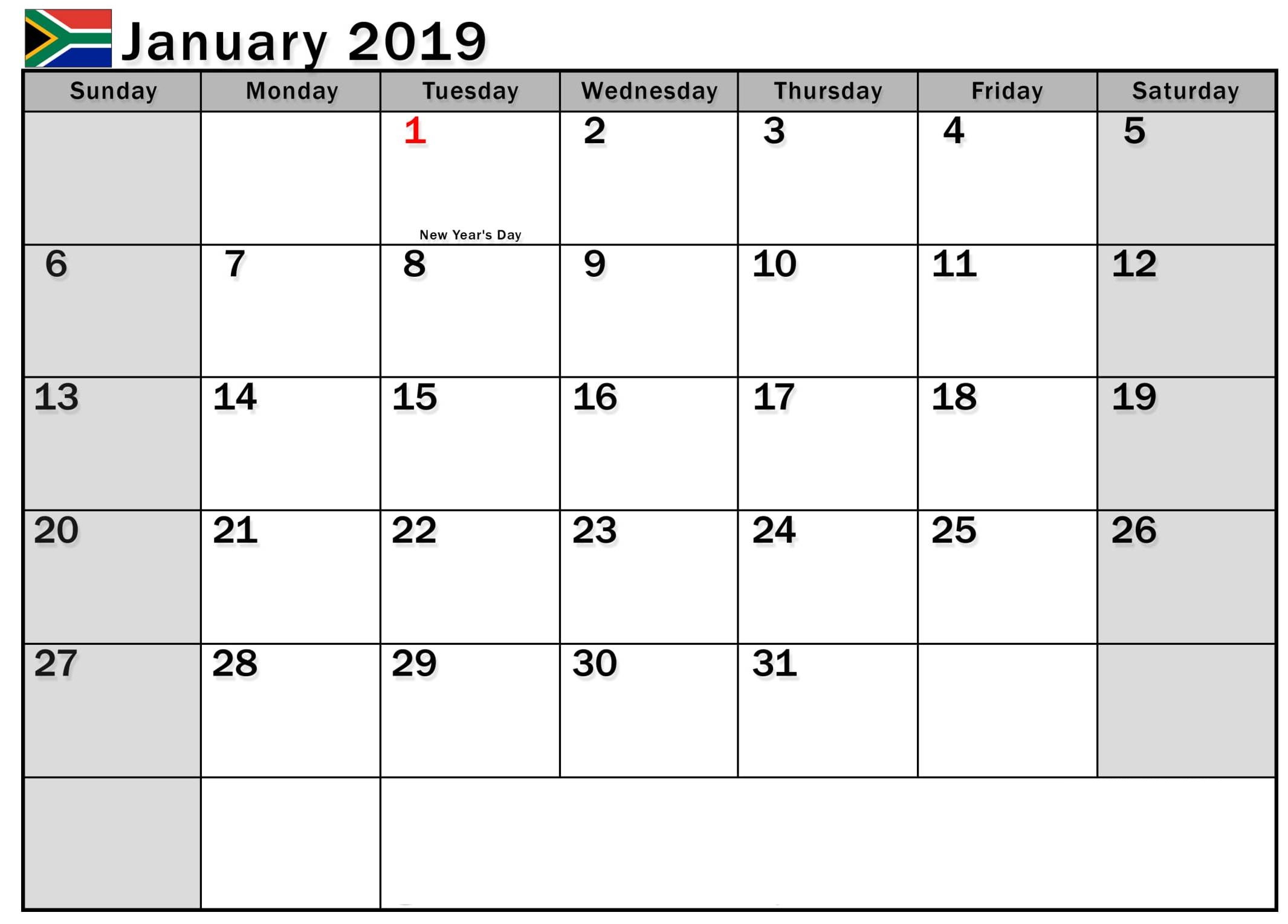 January 2019 Calendar South Africa