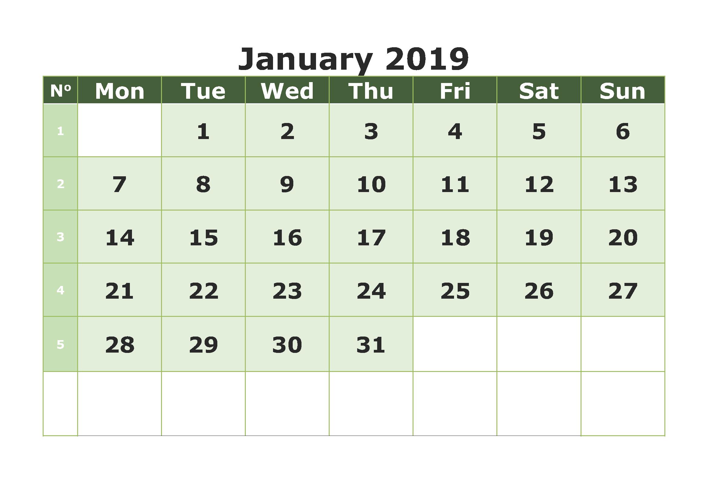 January 2019 Calendar Template Printable