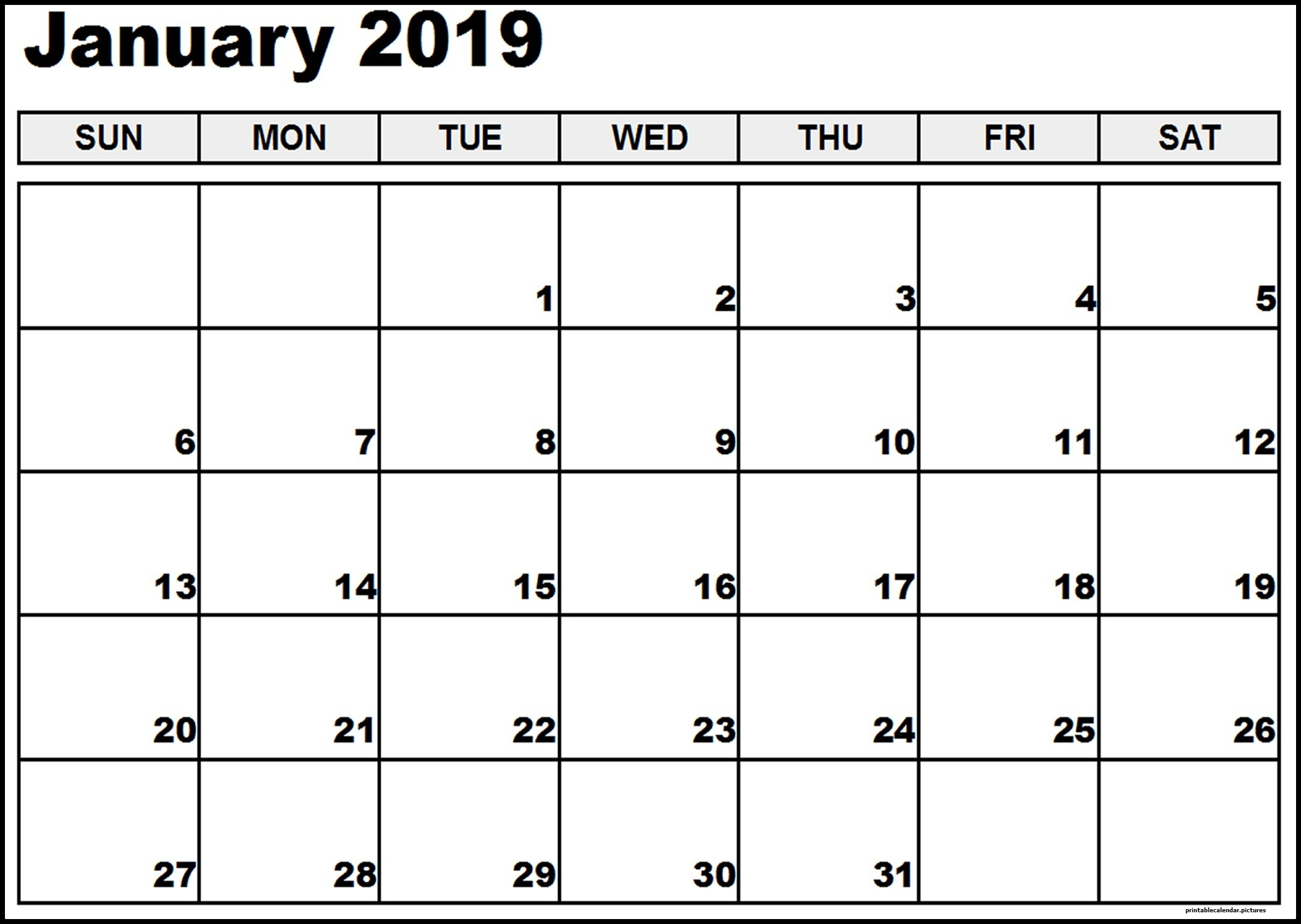 January 2019 Calendar Printable PDF Template Free