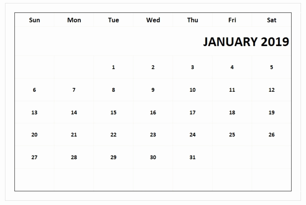 2019 January Calendar UK Blank Templates