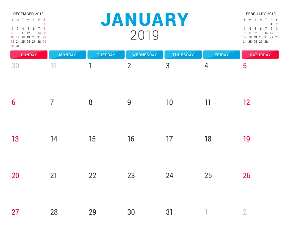 January 2019 Calendar UK Printable