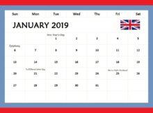 January 2019 Calendar UK With Holidays