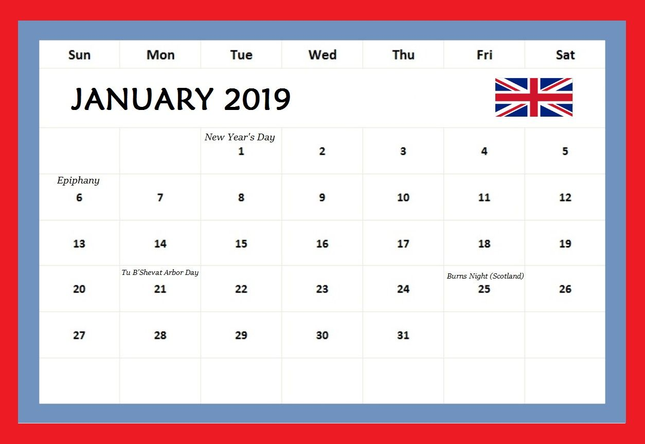 January 2019 Calendar UK With Holidays
