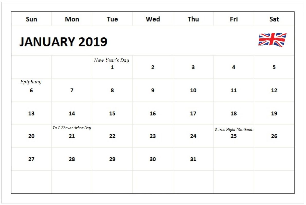 January 2019 Calendar UK