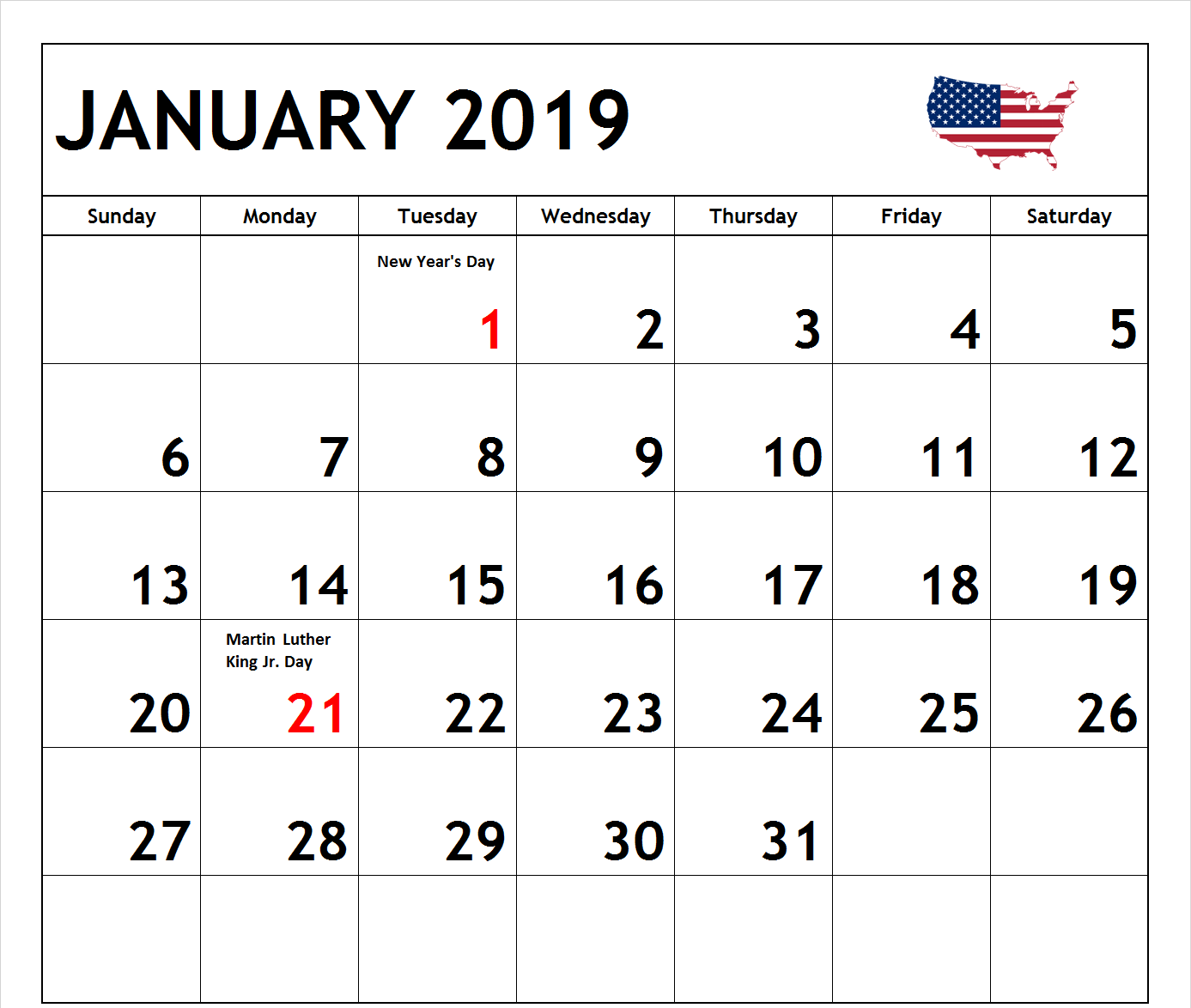 January 2019 Calendar USA Federal Holidays
