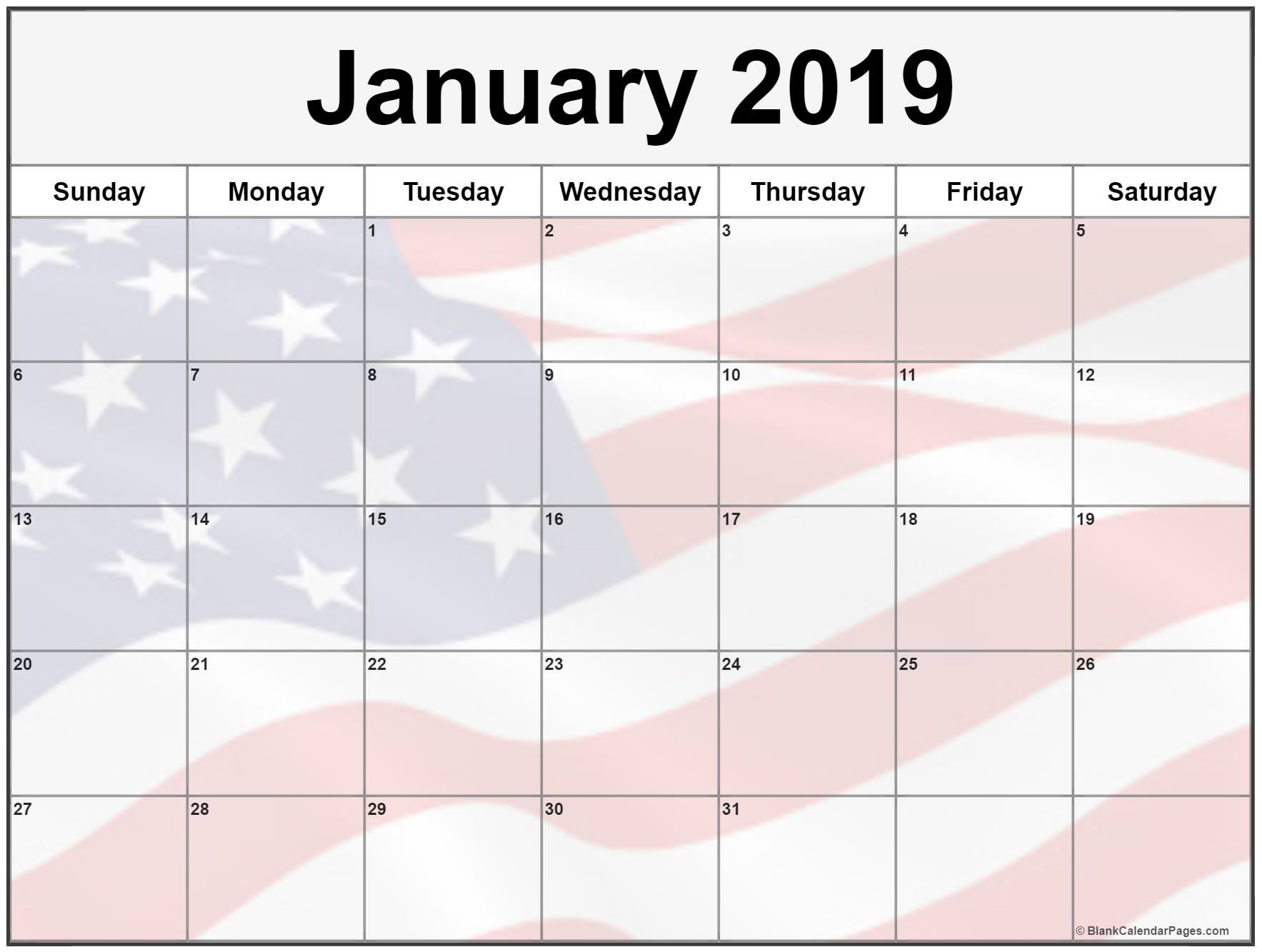 January 2019 Calendar USA Flag