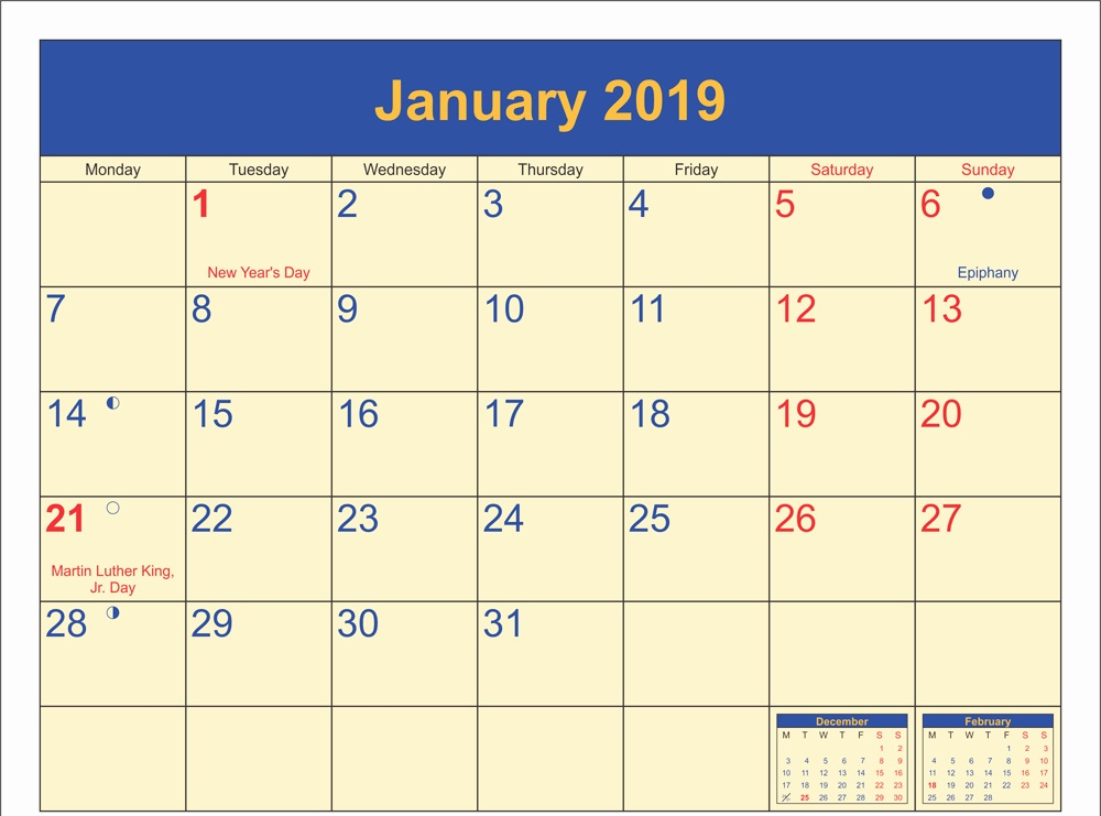 January 2019 Calendar USA Holidays