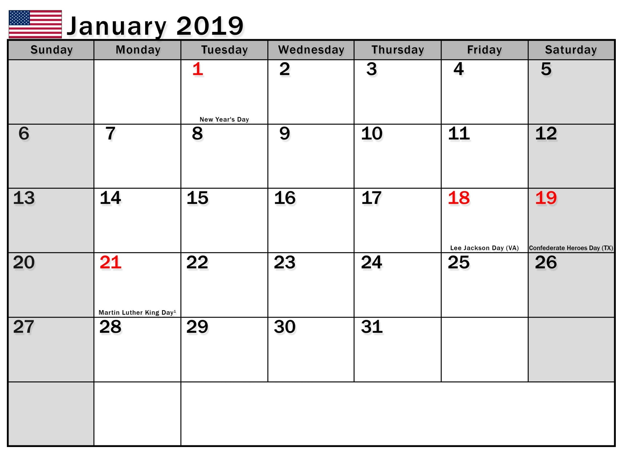 January 2019 Calendar USA Printable
