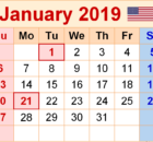 January 2019 Calendar USA With Holidays