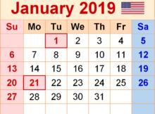 January 2019 Calendar USA With Holidays