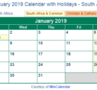January 2019 Calendar With Holidays South Africa
