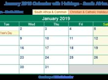 January 2019 Calendar With Holidays South Africa