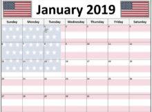 January 2019 Calendar With Holidays USA