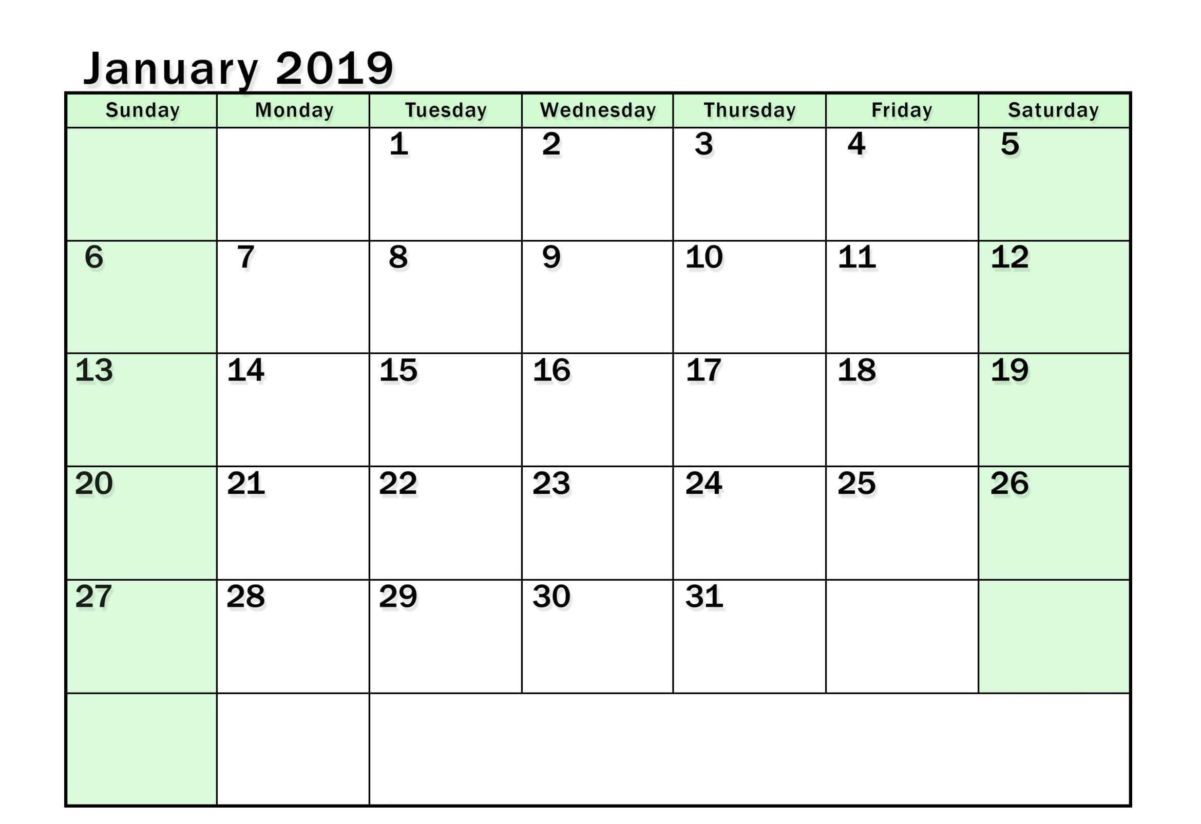 January 2019 Calendar Word Document