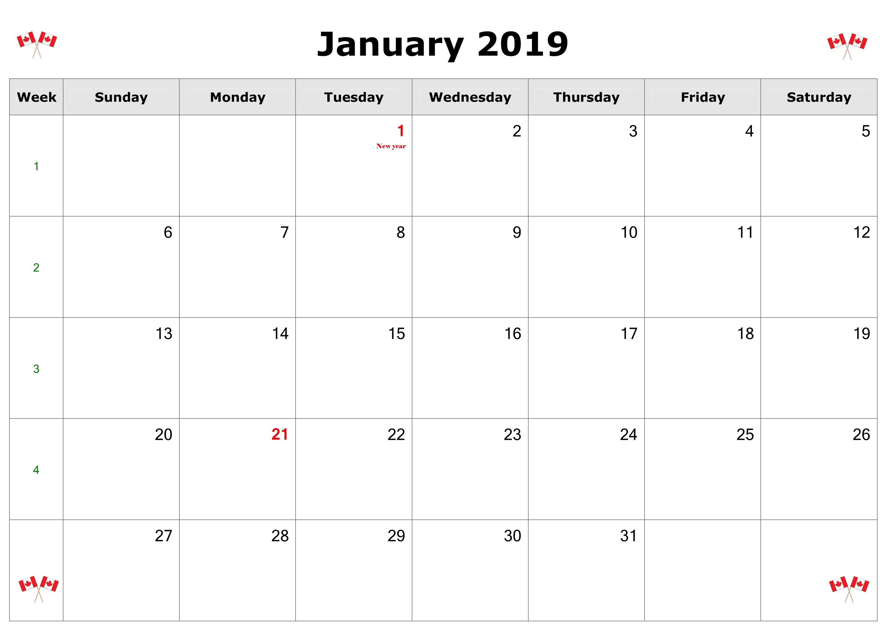January 2019 Canada Calendar With Holidays