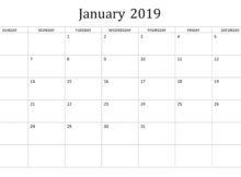 January 2019 Editable Basic Calendar