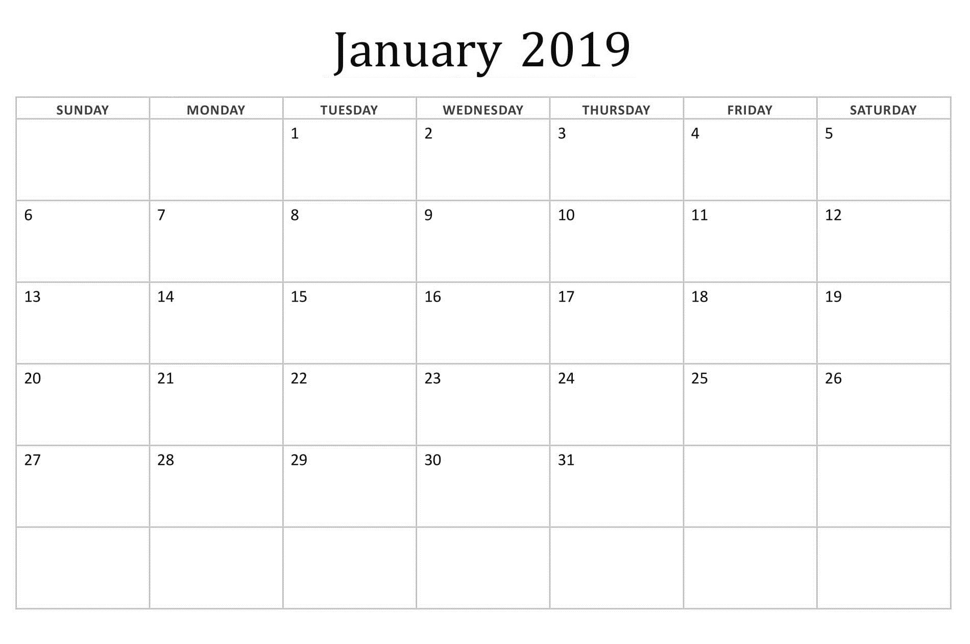 January 2019 Editable Basic Calendar