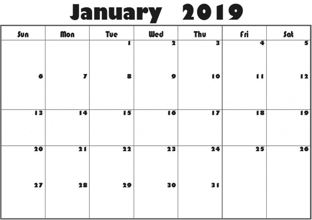 January 2019 Editable Calendar Printable