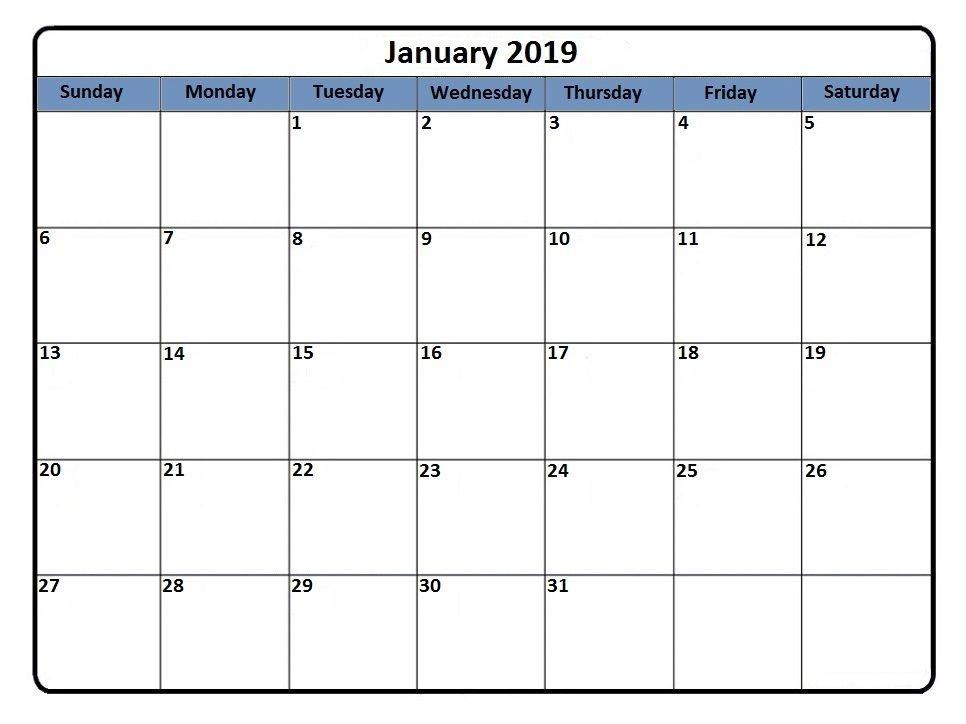 January 2019 Editable Calendar