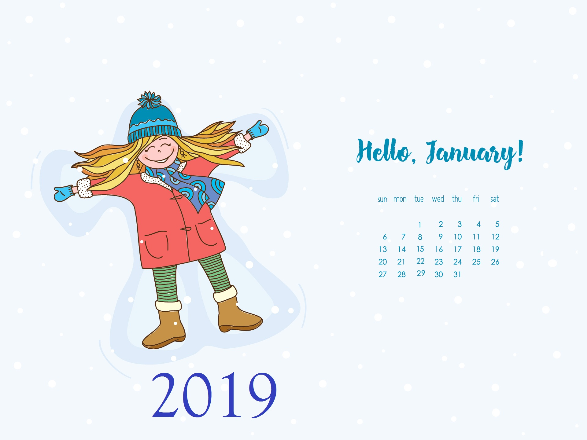January 2019 HD Wallpaper Desktop Calendar