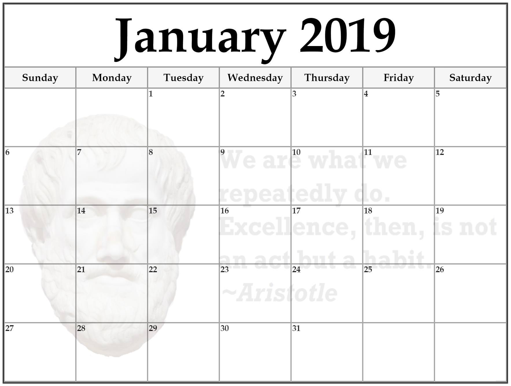 January 2019 Jesus Editable Calendar