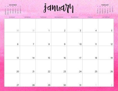 January 2019 Pink Desk Calendar