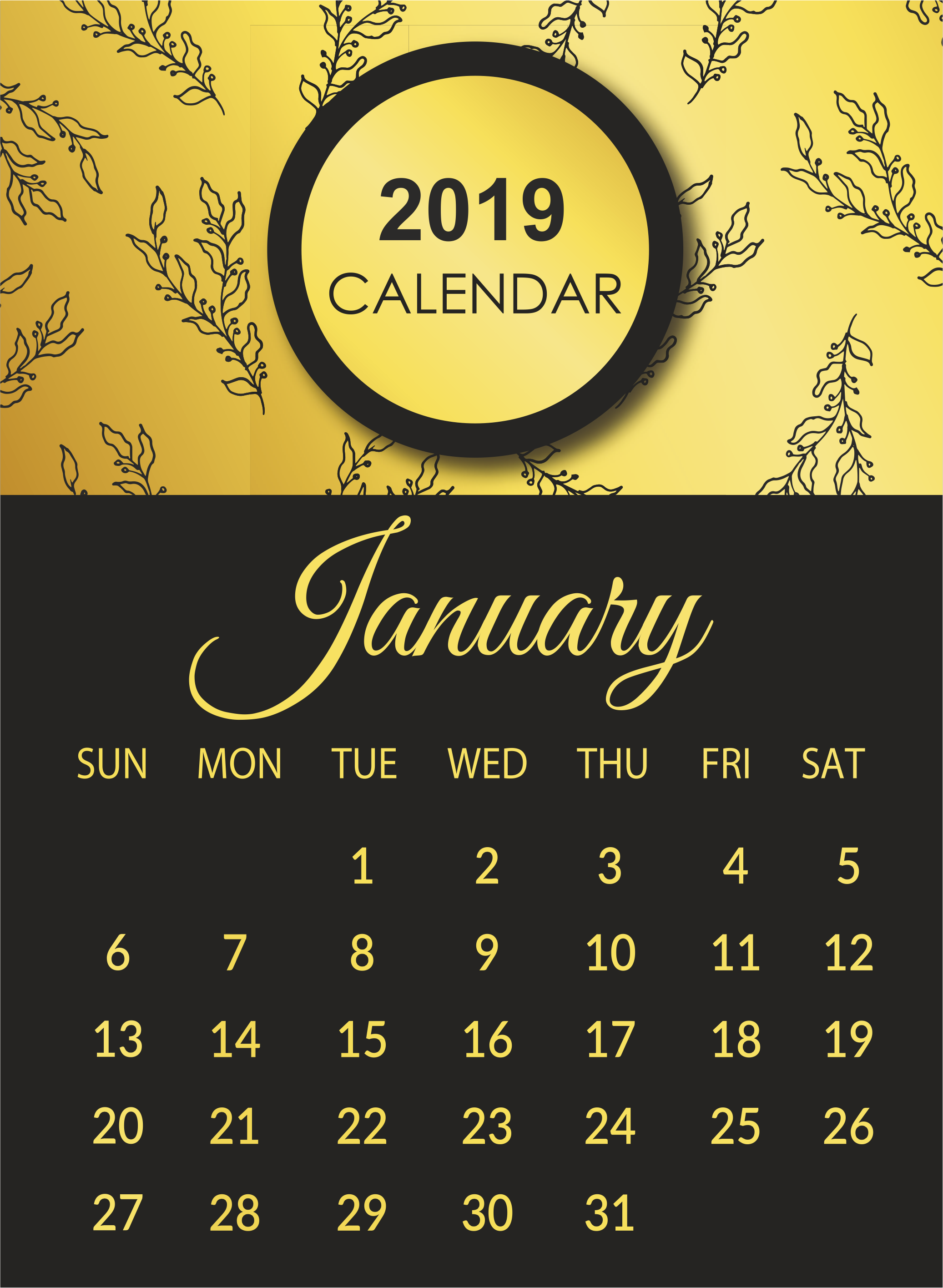 January 2019 Portrait Calendar