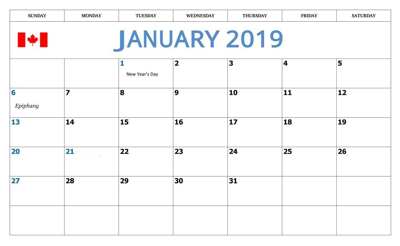 January 2019 Printable Calendar Canada