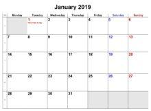 January 2019 Printable Holiday Calendar
