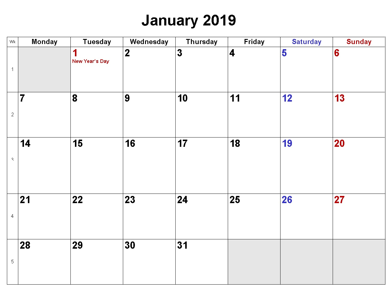 January 2019 Printable Holiday Calendar
