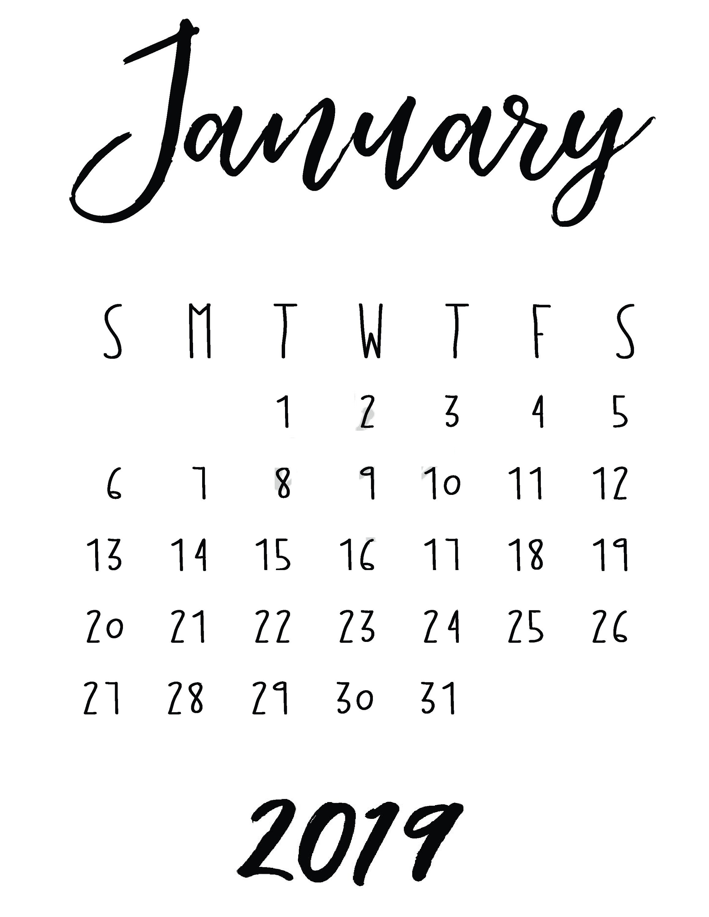 January 2019 Printable Unique Calendar