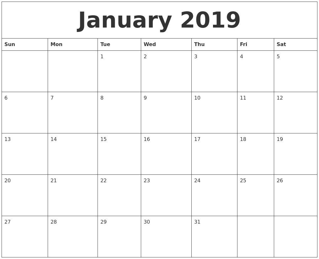 January 2019 Singapore Calendar